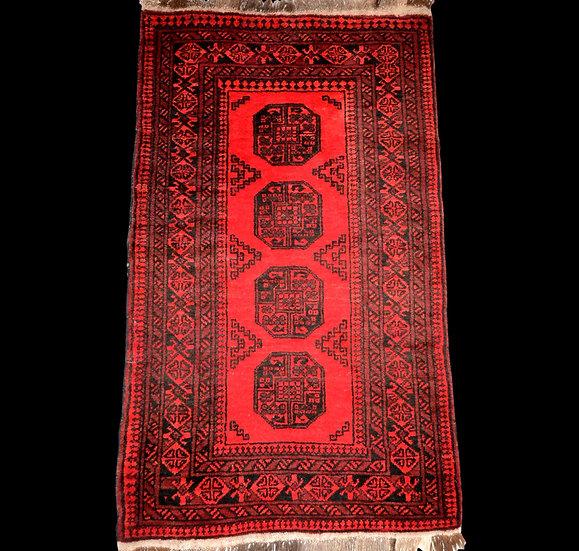 """""""Tapis Afghan, 102 cm x 190 cm, laine sur laine nouée main vers 1970, Superbe"""""""
