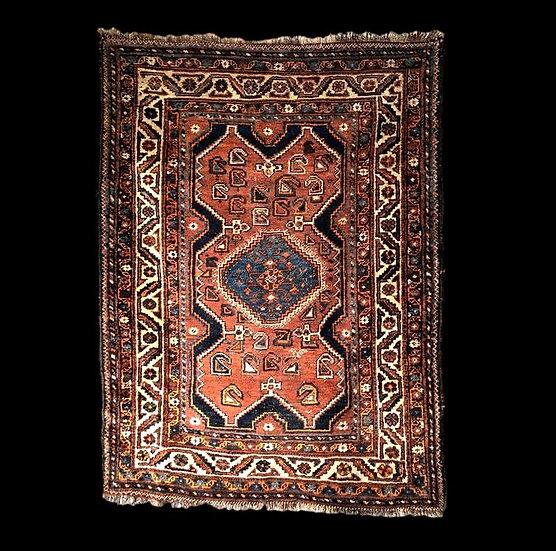 Tapis Gashgaï ancien, 116 cm x 156 cm, Iran, laine sur laine, début du XXème Siè