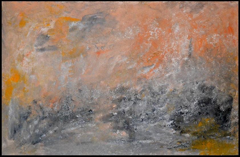Erwin STEINBACH « Le clocher dans la brume d'été », 75 cm x 115, technique mixte