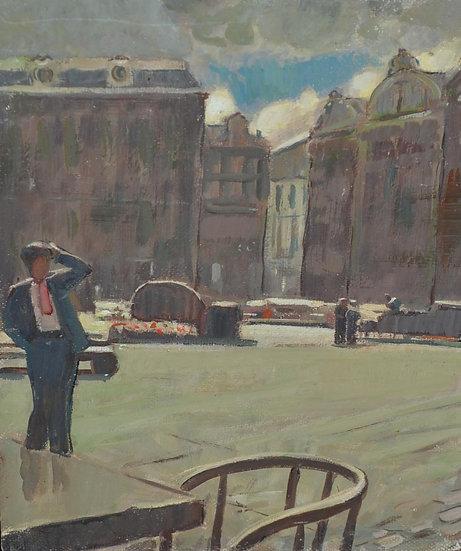 Cornelis KLOOS (1895-1976) Attribué à , Marché à Bruxelles , circa 1960