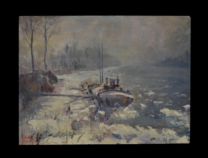 Guy CARTON (1929-2012) , Péniche dans la neige , 1955