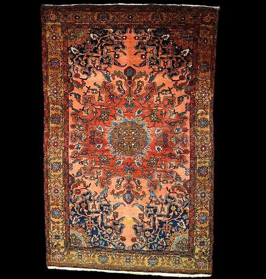 """""""Tapis Persan Tafresh, 132 cm x 202 cm, Iran, laine, XIXème siècle, sublimes cou"""