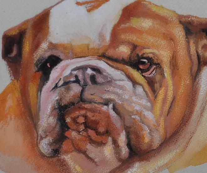 BLANC Robert, Aquarelle, portrait de chien, 2001