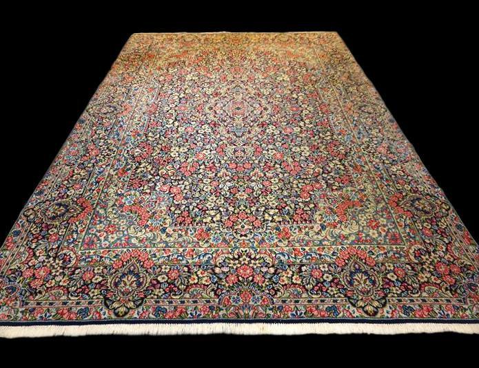 Tapis Persan Kirman, 245 cm x 343 cm, Millefleurs, Iran, Laine kork