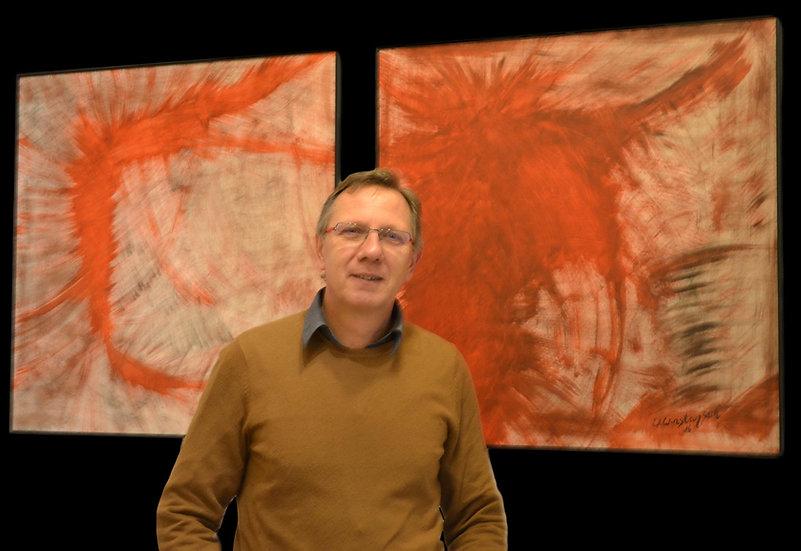 """Erwin STEINBACH """"diptyque, 80 cm x 80 cm, chien hurlant et la crevette """""""