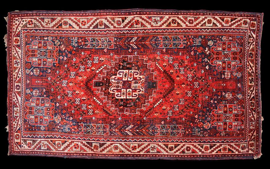 Tapis Persan Ghashghaï, Iran, 125 cm x 217 cm, Laine Sur Laine Nouée Main, Vers