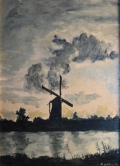 """Rostislas LOUKINE (1904 - 1989) """" Le Moulin """" gouache, 1978"""