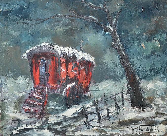 """Roger VANDENBULCKE (1921- )""""La Roulotte Rouge dans la neige """" 1972"""