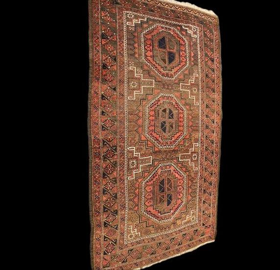 Tapis Afghan ancien, 132 cm x 223 cm, laine sur laine, Afghanistan, 1930-1950