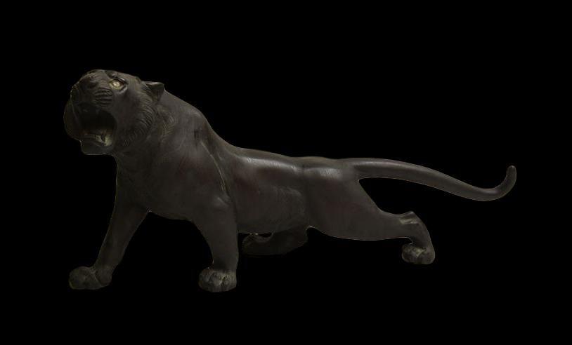 Important Bronze Japon, signé 光陽作 Koyosaku, d'un tigre , ère Meiji