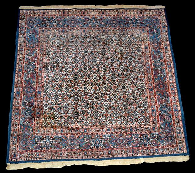 """""""Tapis Persan Moud, 200 cm x 202 cm, Iran, laine et soie, nouée main, vers 1980,"""