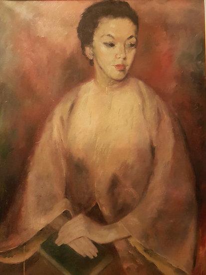 "Huile sur toile , ""Beautiful Lady in kimono"" , vers 1920/1930"