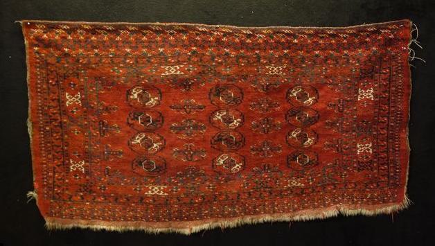 """Tapis """"Tekké Chouval"""", Turkestan, 88 cm x 167 cm, laine sur laine, fin XIXème"""