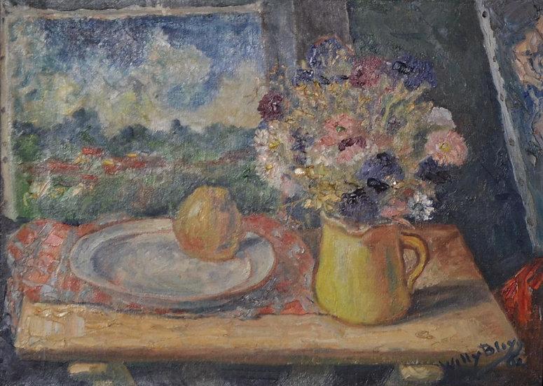 Willy BLEYS (1909-1978) , Nature Morte à la Pomme , datée 1962