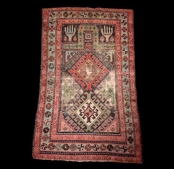 Tapis Kazak de prière, 90 cm x 144 cm, Caucase, milieu du XIXème siècle