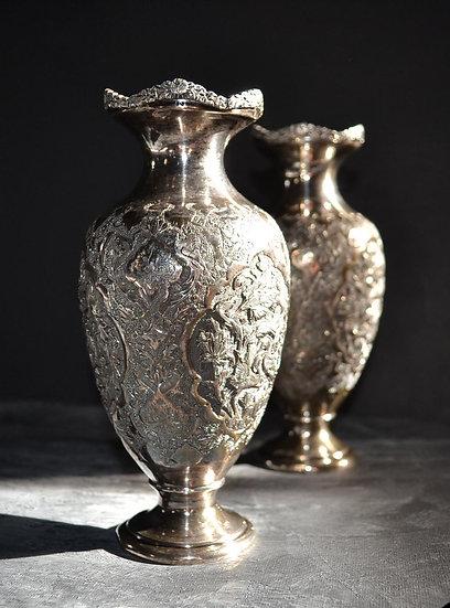 """paire de vases, argent massif """" au repoussé """", Perse, ( Iran ) XIXè"""