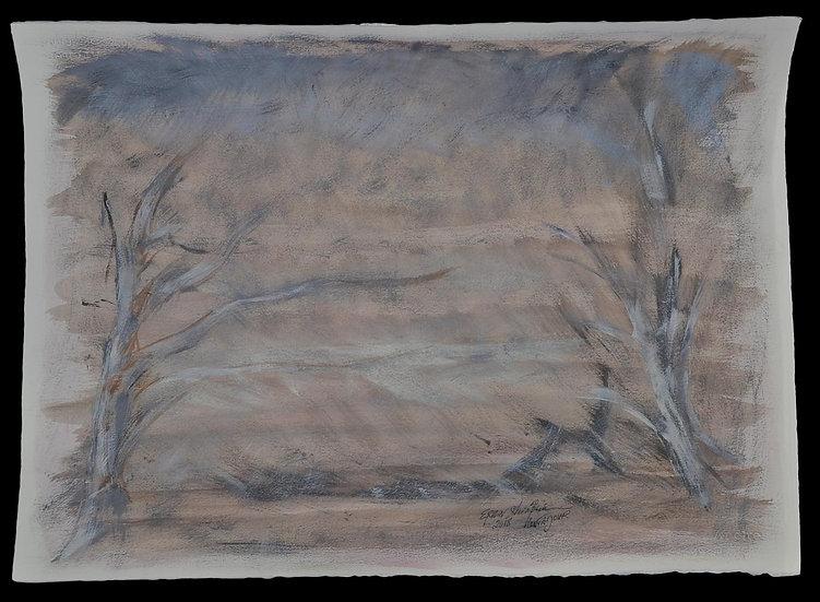 """Erwin STEINBACH,"""" Contadour """" 57 x 76 cm, gouache sur vélin, 2018"""
