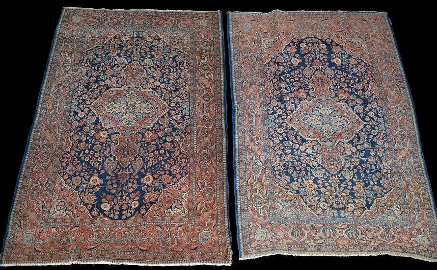 """""""Rare Paire de tapis Sarough, Iran, 135 x 197 cm, Laine Kork Nouée Main, Début D"""