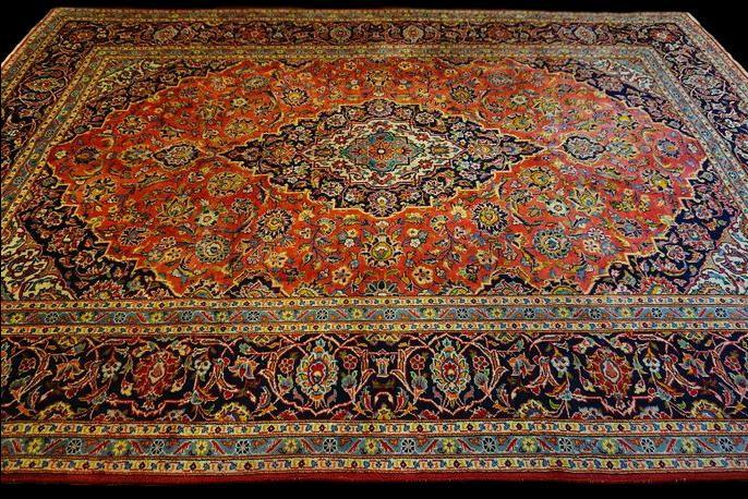 TAPIS PERSAN KASHAN, Iran , 245 cm x 345 cm, laine vers 1970