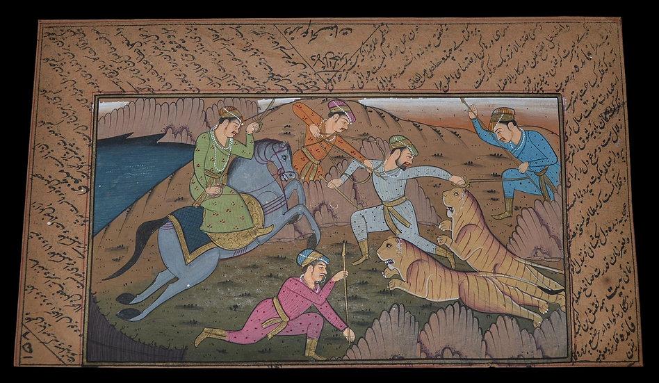 """Série de trois miniatures, gouaches, """"Chasse aux tigres """" Indo-Persan, XIXème s"""