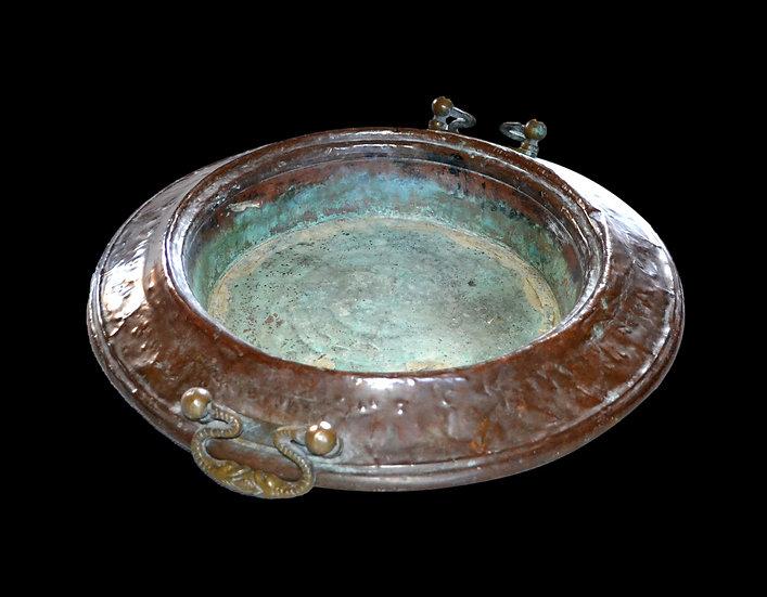 Islam, important brasero ancien du XIXème siècle en cuivre, ou brûle parfum, Asi
