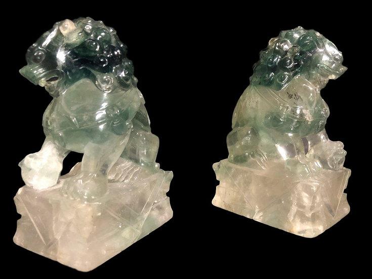 Paire de chiens de Fô en cristal de roche, Chine, fin XIX, tout début XXème