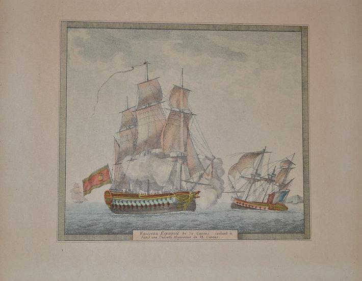 Gravure de bateaux - circa 1950