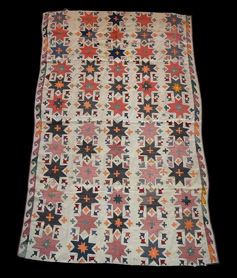 Tapis ancien, Ouzbékistan, fil de soie brodés sur coton, 160 x 256, superbe état