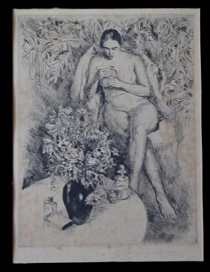 Eugène LORNE , Gravure , Femme aux Parfums , circa 1920