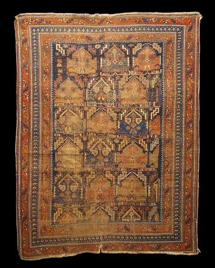 TAPIS AFSHAR ou SIRDJAN Ancien, Iran, 143 cm x 179 cm, XIXème siècle
