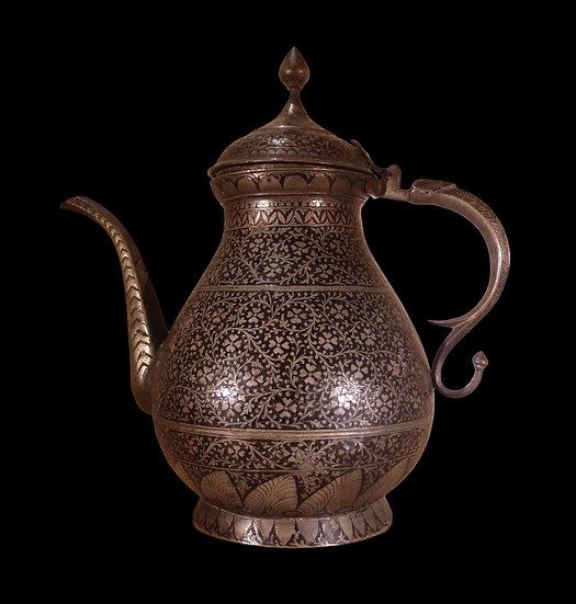 Théière en métal niellé, Inde, Cachemire, Fin du XIXème Siècle