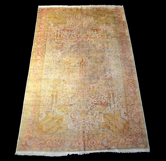 Tapis Héréké en soie, 197 cm x 308 cm, noué main, Turquie vers 1930