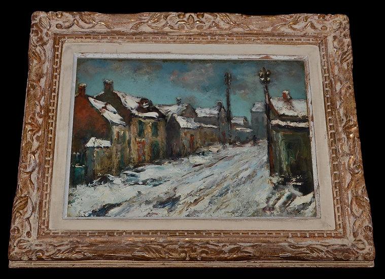 """Huile sur carton , """" neige """"  Les Faubourgs de Caen, 1920"""
