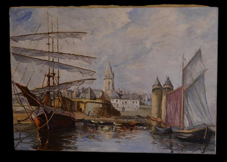 J.BIGANN , Scène de Port , 1920/1930, huile sur toile