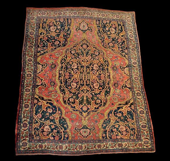 Tapis Persan Sarough ancien, 142 cm x 176 cm, grande finesse, XIXème siècle