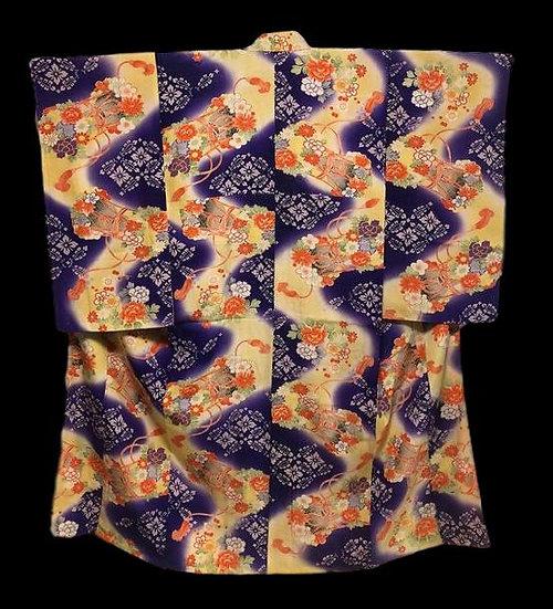 """""""Kimono Furisode, Tsumugi ancien, Japon vers 1960, soie, Très Bon état """""""