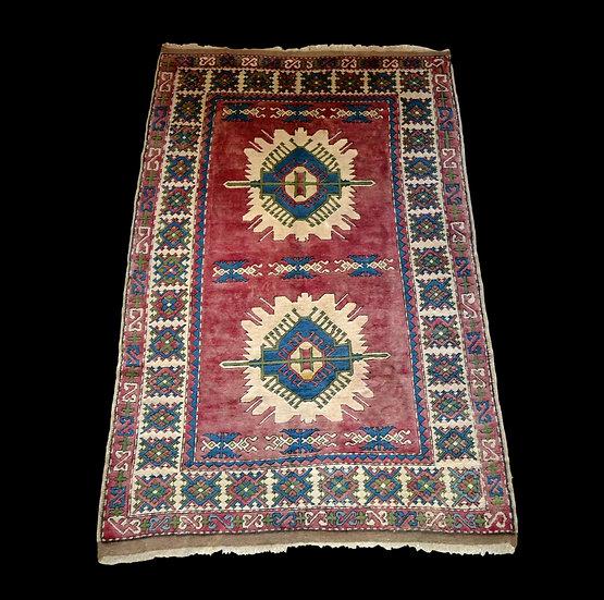 Tapis Kazak, Caucase, 178 cm x 282 cm, laine sur laine nouée main vers 1960
