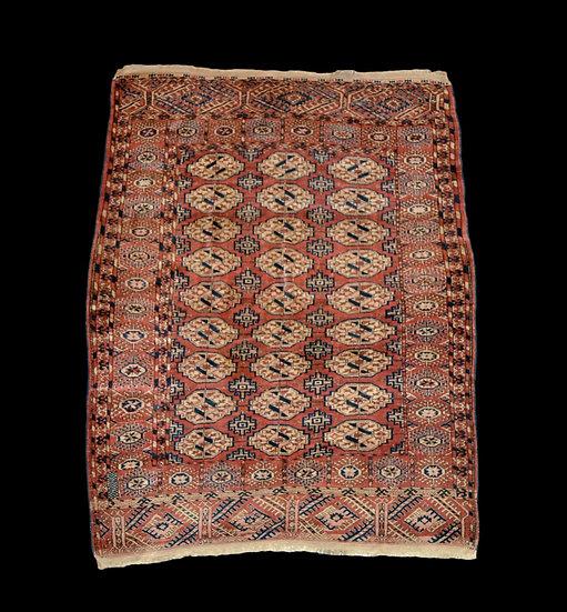 Tapis des Tékké ancien, Turkestan, 138 cm x 186 cm, laine nouée main milieu du X