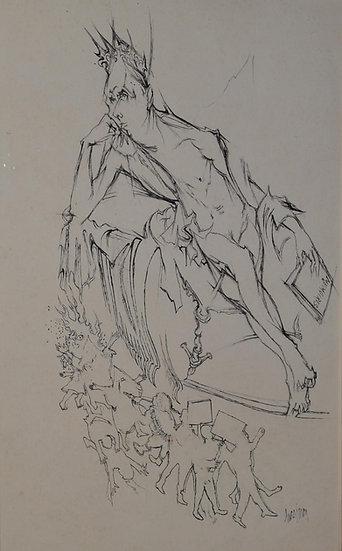 Luc SIMON (1924 - 2011) - Dessin à la plume signé et daté 1980