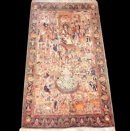 Tapis Indo-Persan ancien, 142 cm x 245 cm, Laine nouée main vers 1950, Cachemire