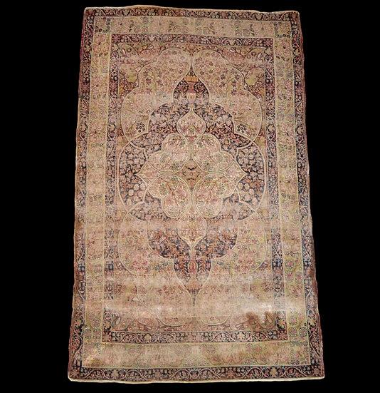 Tapis persan Kirman Raver ancien, 130 cm x 207 cm, XIXème siècle, Iran, collecti