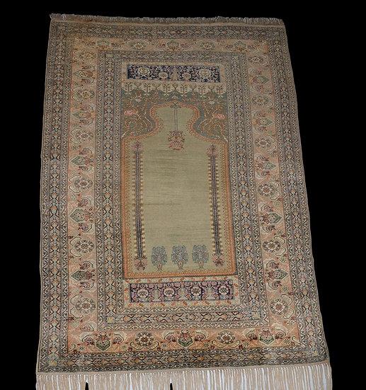 Tapis de Prière, Soie , Istanbul ou Brousse, 128 cm x 210 cm, Turquie Début du X