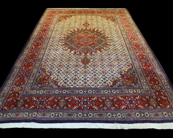 Tapis Persan Moud Mahi, Iran, 214 cm x 310 cm, laine nouée main, vers 1980