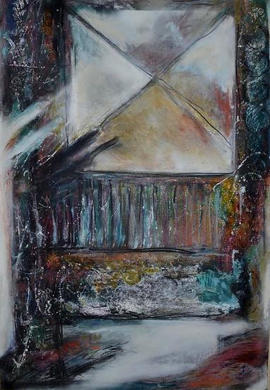 """JULLY Denis (1952 - ) -"""" Le Salon """" - Technique mixte,1986"""