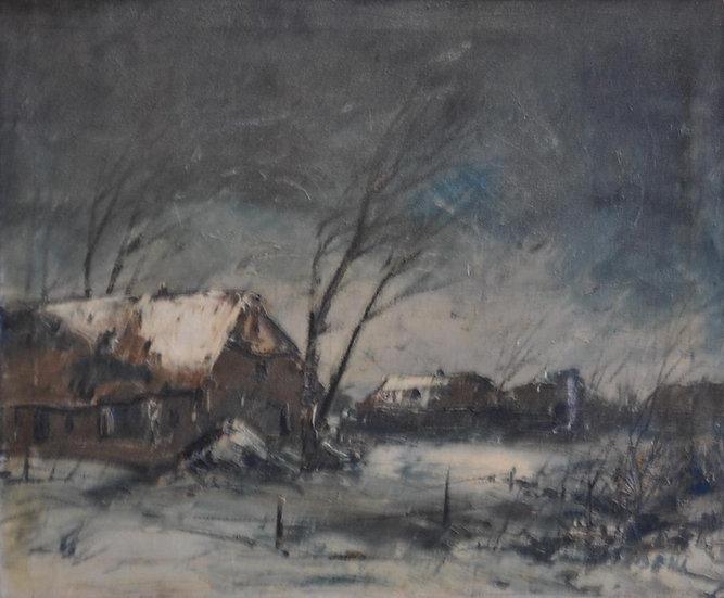 Jean SIBENS (1906 - 1964) , Ferme sous la Neige , vers1950