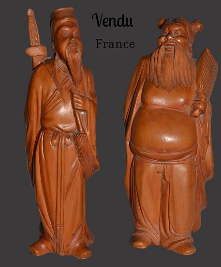 Sculptures Asiatiques en bois de Sages en paire - circa 1920-1930