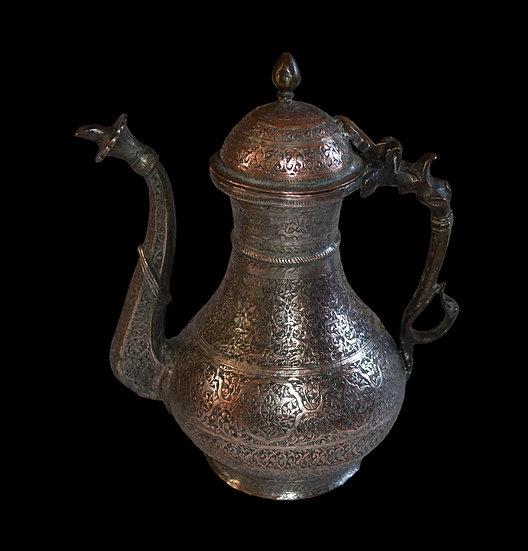 Aiguière en bronze argenté, Asie Centrale, XIXème siècle