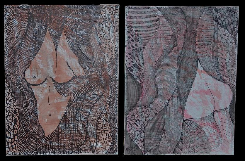 """Erwin STEINBACH """" Aux âmes bien nées """" diptyque, 2( 80 x 60 cm)"""