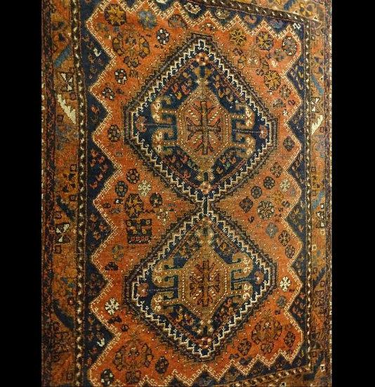 Tapis Gashghaï, Iran, Laine sur Laine, 115 cm x 152 cm, Fin du XIXème Siècle