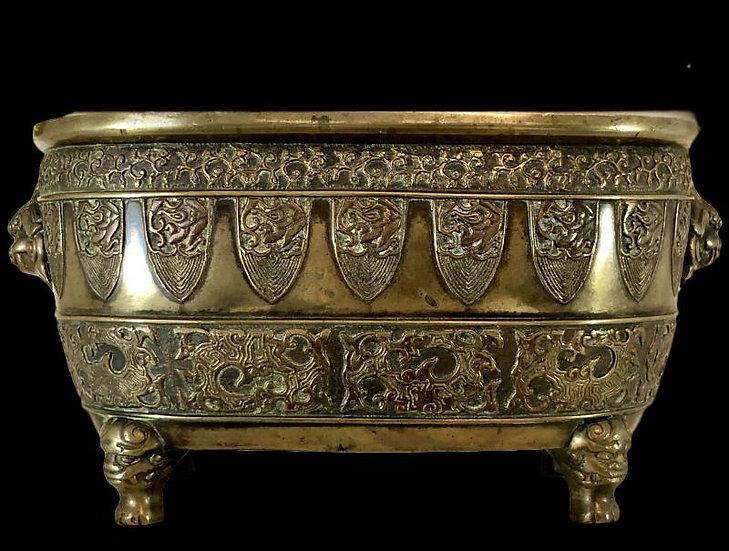 """""""Japon, XIXème Siècle, ère Meiji, Important Brûle-parfum Quadripode En Bronze. """""""